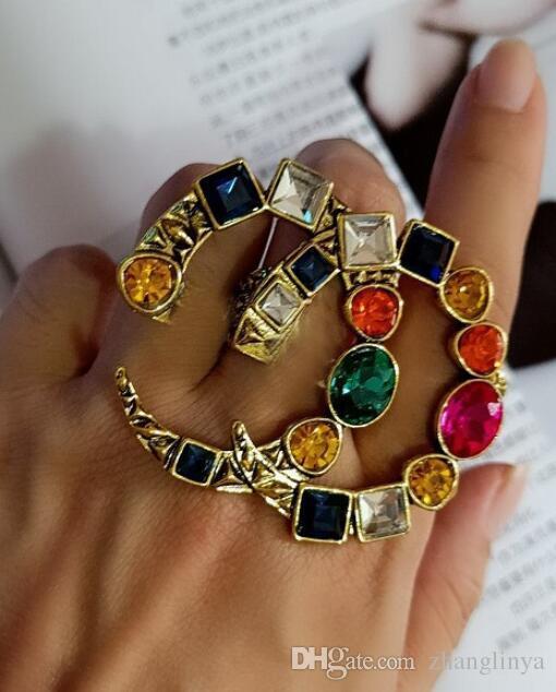 Rétro Brand Designer Cluster Bague Femmes Vintage Crystal Déclaration Anneaux Bijoux de marque célèbre Cadeau de bijoux pour l'amour Top Qualité