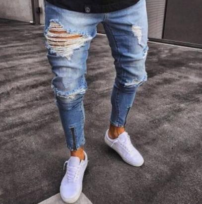 Biker High Street Yırtık Kot Erkekler Moda Delik Tasarım Fermuarlar Uzun Kalem Pantolon Slim Fit Pantolon Giyim