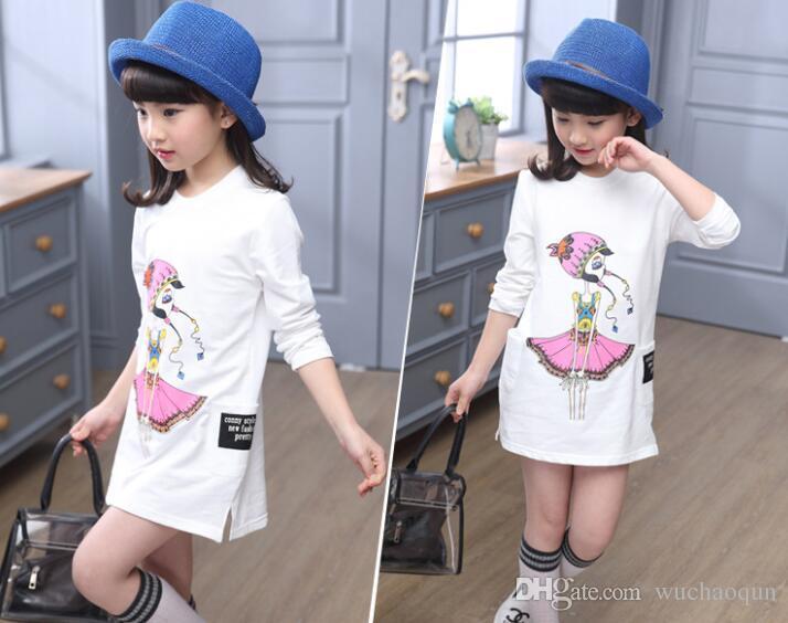 5-13T девушки длинные футболки платье для подростков девочек школьная одежда одежда одежда девушки топ футболка характер детские дети одежда
