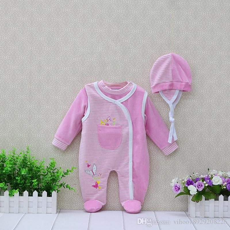 2019 Little Q New Baby Velour Long Sleeve Blouse+Hat+Sleeveless Romper 3 Pieces/set Newvborn Clothing Boys Leisurely Clothes