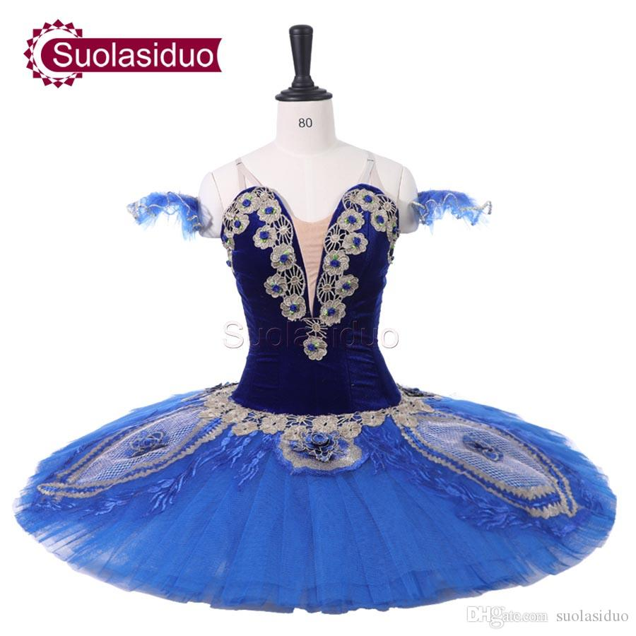 Adult Blue Professional Ballet Tutu Peacock Plum blossom Stage Performance Apperal Children Ballet Dance Competition Costumes Girls Dress