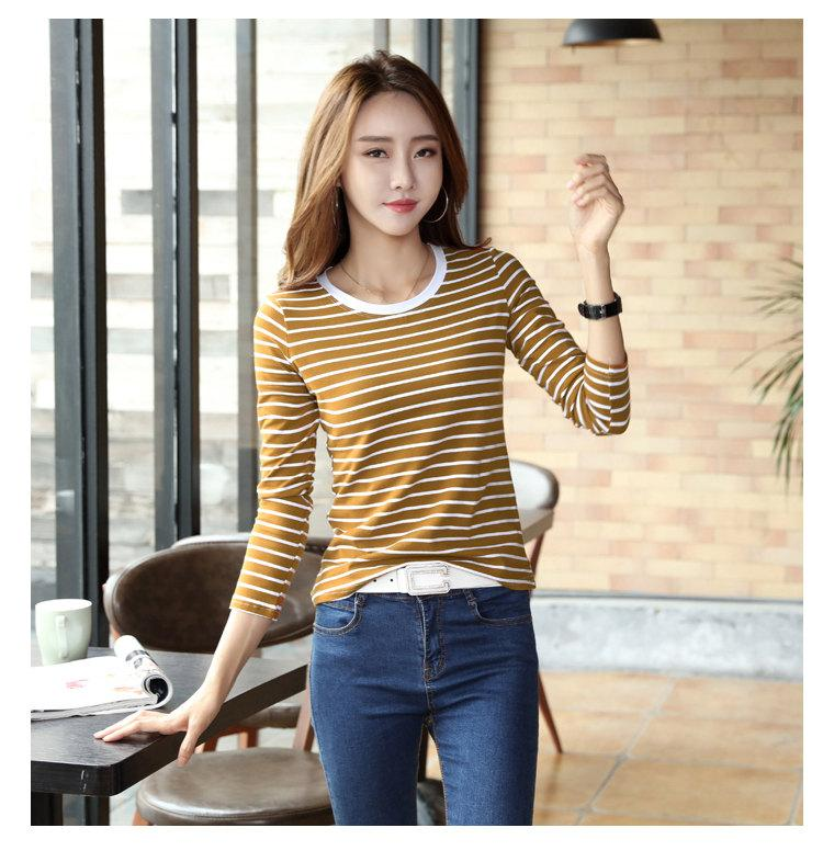 Autumn Winter Striped T-shirt Women Casual Plus Size Tops Tees Femme Long Sleeve Women Cotton Tshirt Camisetas Mujer 2019 (11)