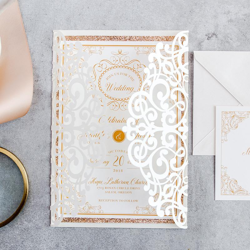 50 Kit Design Fold FLower Lace Wedding invitations with envelope Blank Print Inside Cards Convites Customizes Greeting Birhtday