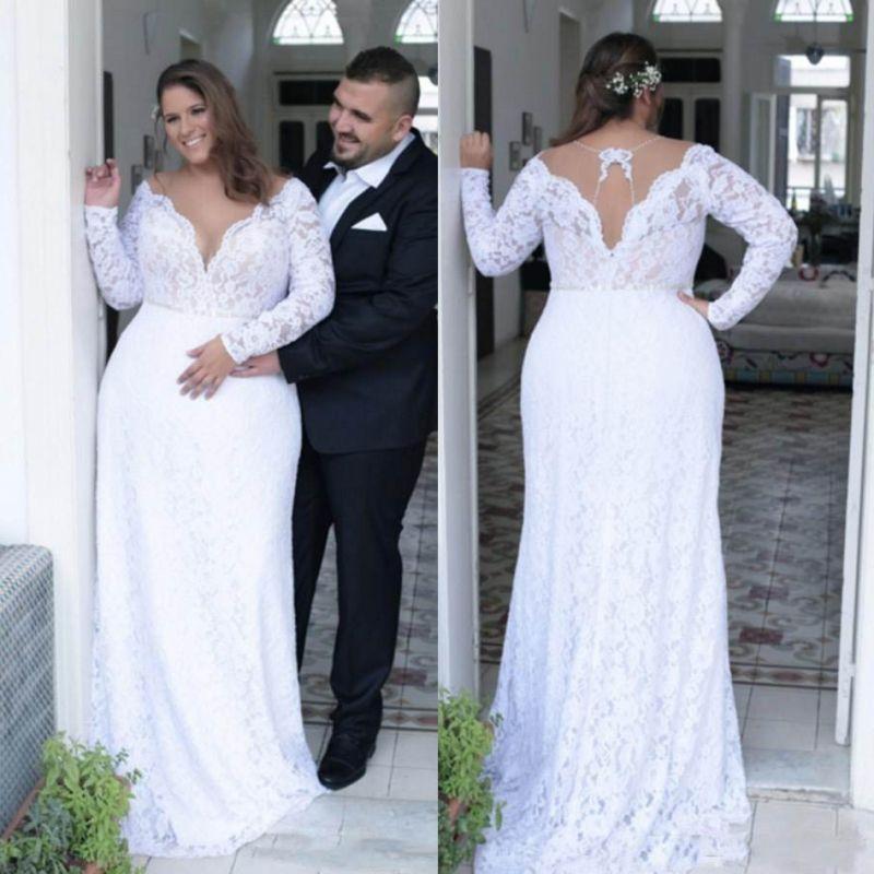 Discount Retro Lace Plus Size Wedding Dresses 2018 2019 Sheer Neck Long Sleeves Bridal Gowns Hollow Back Wedding Vestidos Customized Wedding Dress