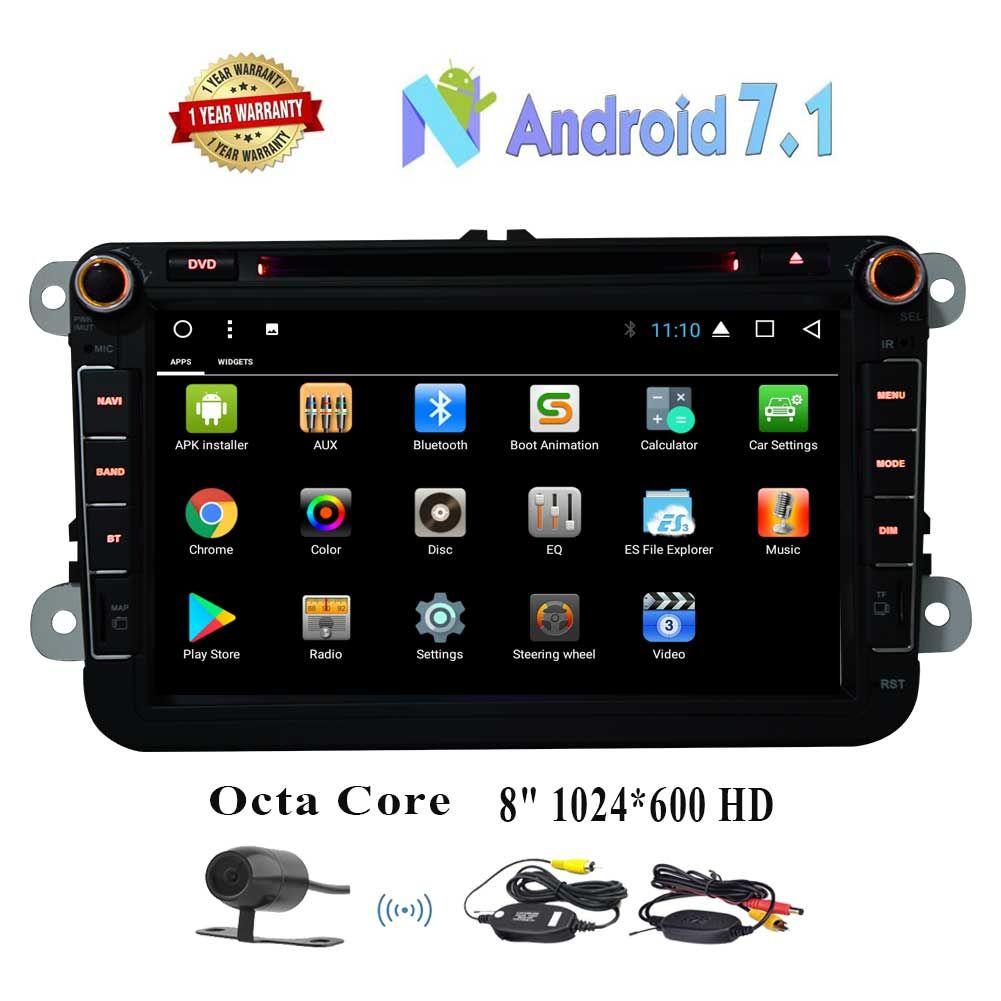 EinCar 8 '' Android 7.1 2 Din Car DVD Player In Dash Octa Core 2GB + 32GB HeadUnit para el receptor de radio Volkswagen Bluetooth / navegación GPS