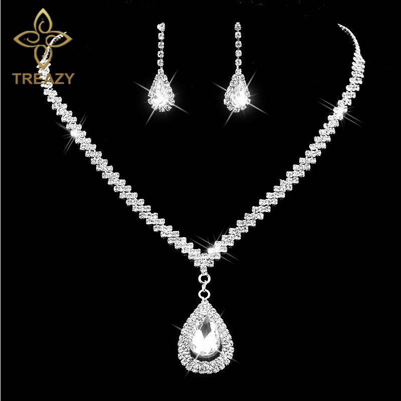 whole saleTREAZY Diamante Crystal Rhinestone Bridal Jewelry Sets Silver Color Waterdrop Necklace Earrings Wedding Jewelry Sets Accessories