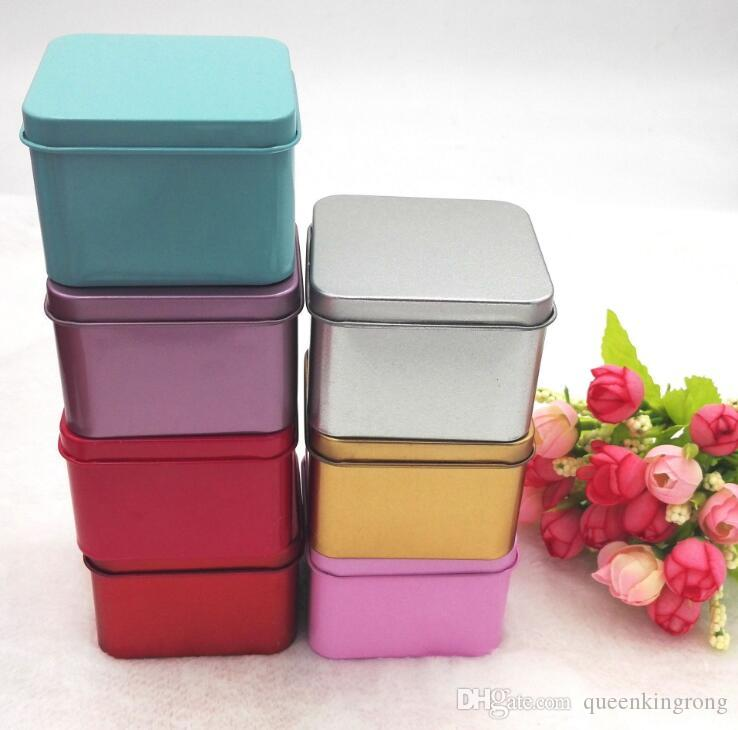 Square Popular Tin Box Empty Metal Storage Case Organizer Stash 5 colors 6.5cm length For jewelry Money Coin Candy Keys U disk headphones