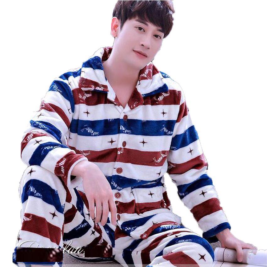 Men's Pajamas Winter Mens Pajama Sets O-Neck Long Sleeve Pyjamas for Men Sleepwear Thick Warm Coral Fleece Pajamas Male Homewear