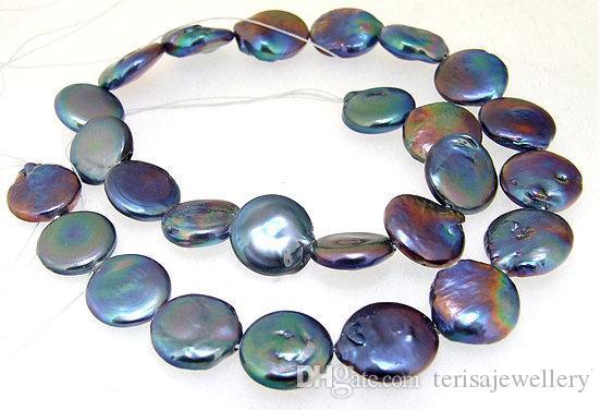 Neue Ankunft Münze Süßwasserperle Zuchtperle Schwarz Farbe 14-15mm Edelstein Perlen Ein Voller Strang 15 zoll