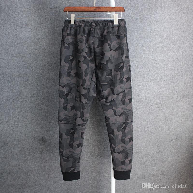 Mens Camuflagem Calças Atléticas Calças Casuais Calças Sportswear Calças Finas Masculinas Cintura Elástica High Street Sweetpants