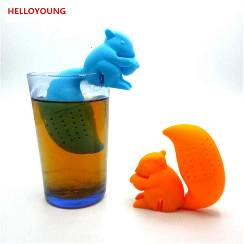 Sıcak satış Yüksek Kalite Sevimli Sincap Çay Süzgeci Silikon gevşek yapraklı Çay Demlik Filtre Difüzör Eğlenceli Çay Aksesuarları