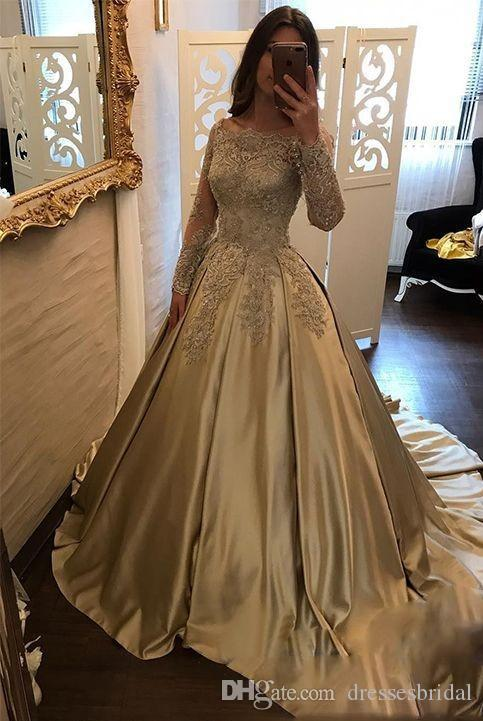 Robes d'or sur l'épaule soirée robe formelle avec des manches longues en dentelle 2018 Nouveautés Satin Princesse une ligne illusion robes de bal