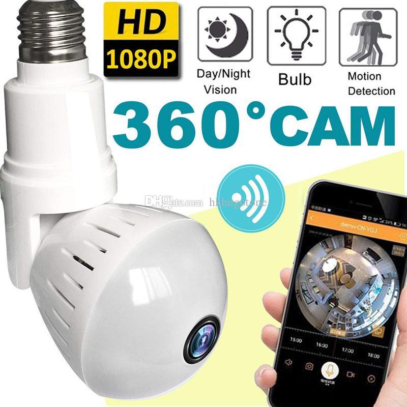Hd led ضوء لمبة كاميرا 1080 وعاء wifi ip كاميرا لاسلكية فيش البسيطة كاميرا 360 بانورامية للمنزل كاميرات الأمن مربية pet الطفل مراقب
