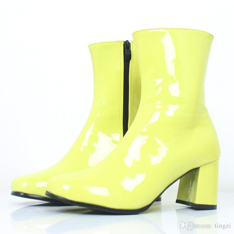 Nova Moda Preto Quadrado Toe Zip Mulheres Sapatos Das Senhoras Bloco Quadrado de Salto Alto Cheerleader Clássico Do Vintage Ankle Boots Plus Size