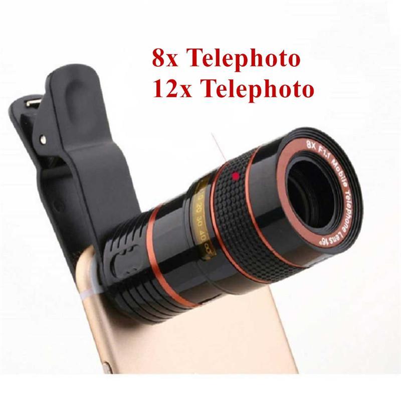 Lente do telescópio 8x 12x portátil Zoom Óptico Câmera Lente com clip para iPhone Samsung Celular com 50pcs pacote de varejo / up