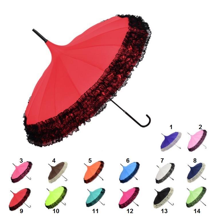 50pcs 14 Colors Pagoda Umbrella Long-handle Princess Lace Fancy Sunny and Rainy Umbrellas Lady Parasols