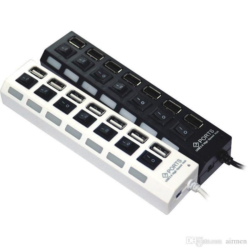 USB 2.0 HUB Power Strip 7 puertos Socket LED Light UP Concentrador con interruptor Adaptador de CA para mouse Teclado Cargador PC Desktop Laptop Tablet