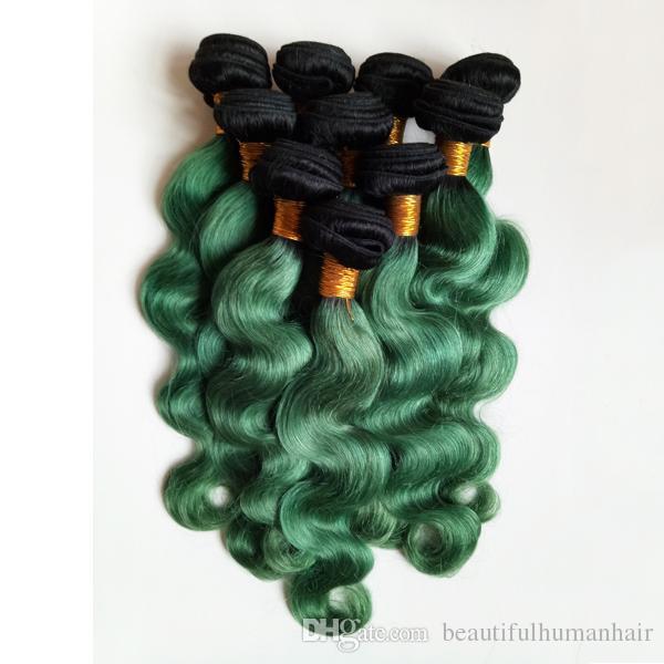 처리되지 않은 브라질 유럽 버진 인간의 머리 Weft 옹 브르 8-28 인치 바디 웨이브 1B / 녹색 섹시 한 인도 레미 헤어 3 4 5pcs 공장 도매