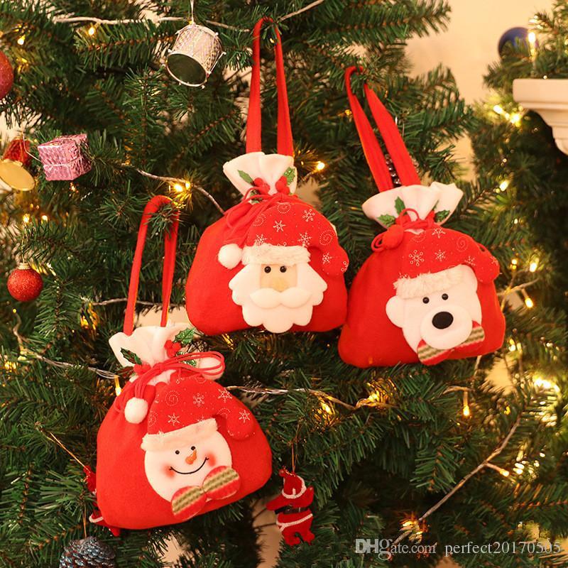 هدايا عيد الميلاد كيس الحلوى حقيبة تسوق حقائب اليد سانتا ثلج الرنة تصميم زينة عيد الميلاد انخفاض الشحن