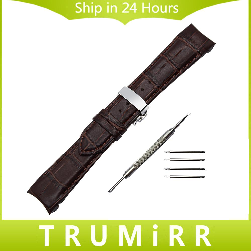 Bracelet en Cuir Véritable avec Embout Courbé + Outil pour T035 Couturier Bracelet Bande de Fermoir en Buerfly Bracelet 22mm 23mm 24mm