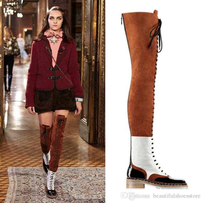 Black Brown Patchwork Leather Shoes Autumn Winter Chain Embellished Over The Knee Botas Mujer Zip Cross-tied Lace-up Thigh High Boots Women