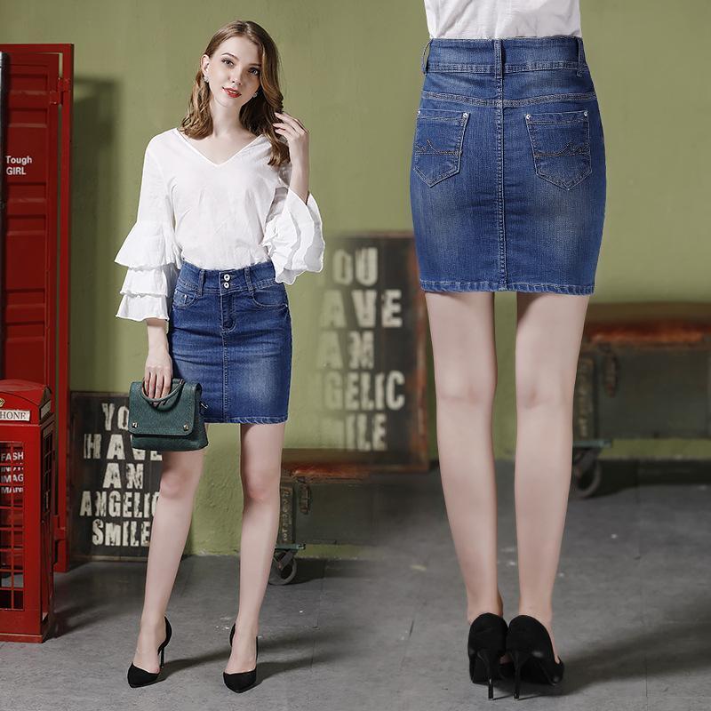 Европа Новый 2018 Летняя женская мода Высокая талия Сексуальная тощий ковбой Урожай джинсовой юбке Женская нешипованная империя Bodycon рубашки Hot