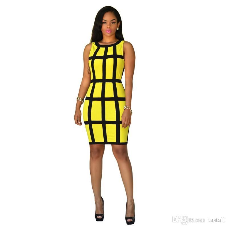 Women Summer Dress Bodycon Sundresses Green Yellow Robe Sexy Club Plaid Bandage Dress Casual Vestidos Short Party Dresses