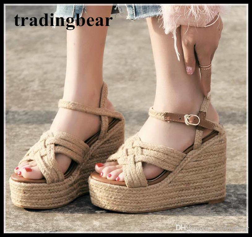 great quality exquisite design new concept Summer Fashion Straw Woven Platform Shoes Women Designer Sandals ...