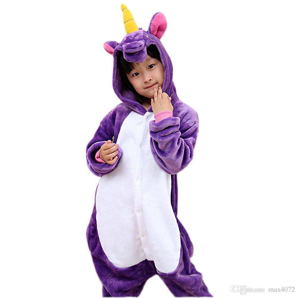 cute kids onesie pajamas cartoon unicorn cosplay flannel soft warm pajamas for 3-10years children boys girls thick warm sleepwear clothing
