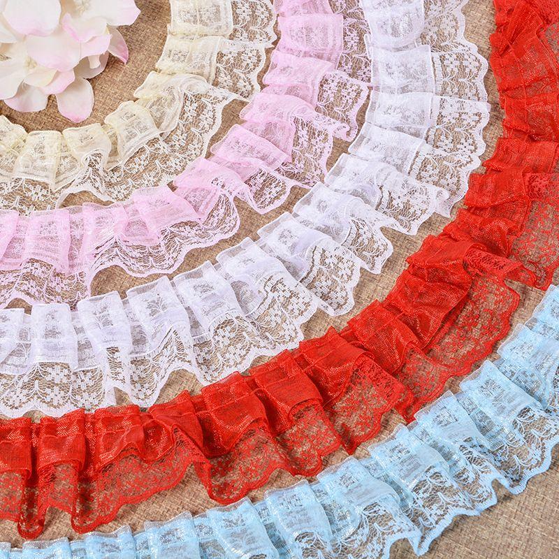 Meetee Flower Lace Trim para Vestido Bordado Fita para Acessórios de Vestuário Hoop acessórios de jóias 4.5 cm DIY materiais artesanais para boneca
