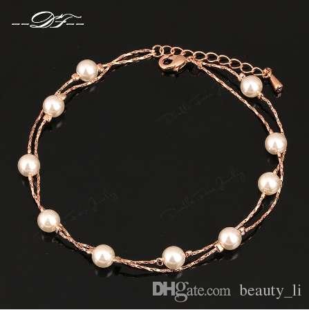 Cavigliere d'epoca catena di piede di fascino all'ingrosso oro rosa colore marchio di moda perline simulato gioielli per le donne DFA028