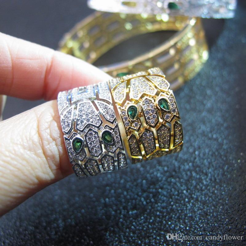 Bague punk animalière en diamants CZ avec diamants en or blanc / jaune 18k pour femme