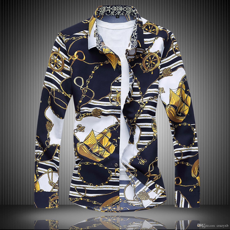 Camisa de la flor de los hombres 2018 Otoño Moda Impresión de manga larga camisas de los hombres de alta calidad para hombre camisa informal de trabajo de oficina camisas 7XL