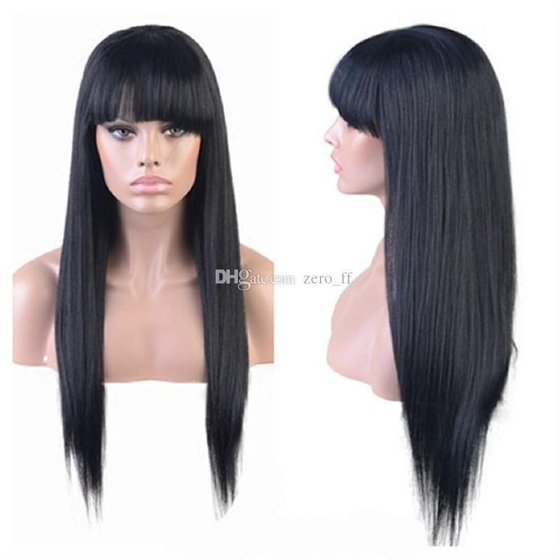 Longue et soyeuse perruque de dentelle perruque péruvienne sans colle perruque de cheveux humains avant avec Full Bangs délié naturel pour les femmes noires