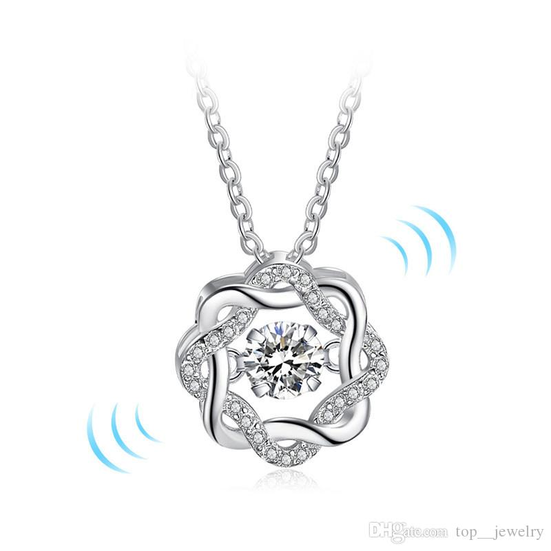 High Quality Fashion Classic Rotate Dancing CZ Stone 925 Sterling Silver Pendant Necklace For Women Fashion Jewelry Gift For Love