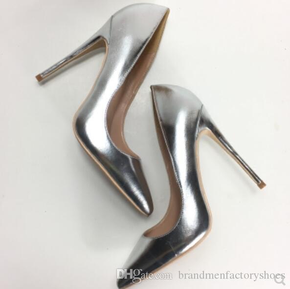 2018 moda kadın ayna deri pompalar glitter şerit yüksek topuklu 12 cm topuk nokta toe elbise ayakkabı parti düğün ayakkabı