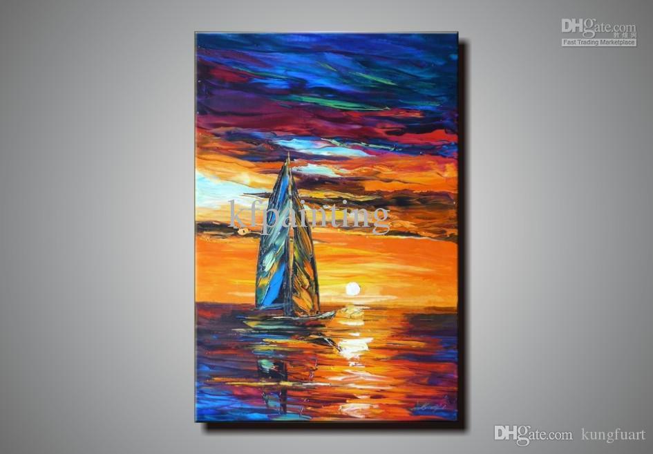 100% handmade buona qualità pittura a olio coltello Leonid Afremov paesaggio marino su tela art deco pittura vendita divano moderno scenografia