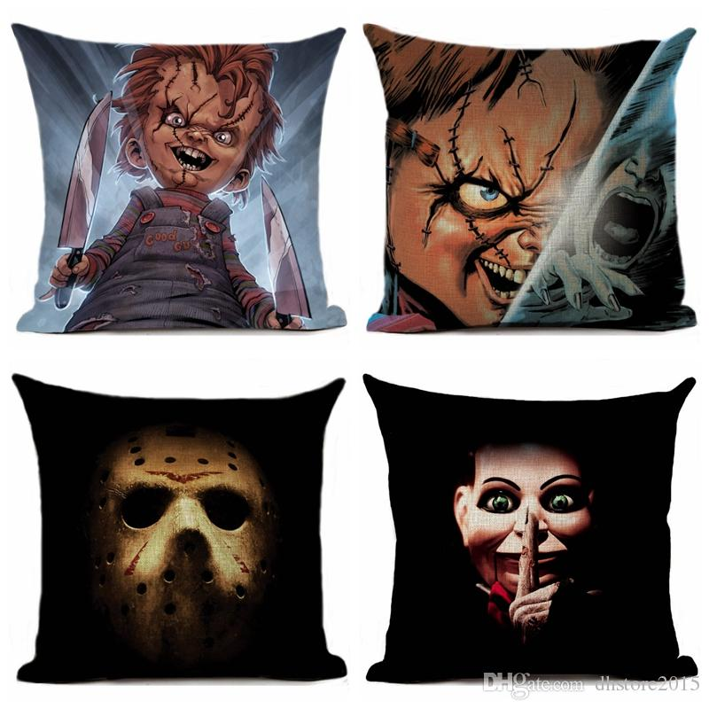 Pillow Case Horror Movie Printed Printed Pillow Cover Car Sofa Decorative Pillowcase Decoration 45x45cm for Sofa Couch