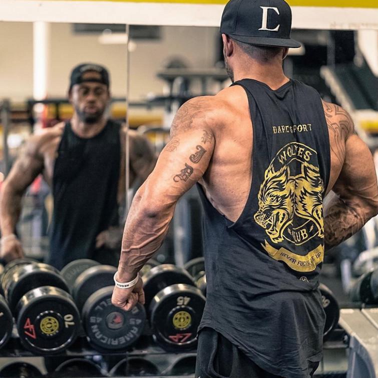 Männer; s Bodybuilding Weste Lauftraining Weste ärmelloses schweißabsorbierendes T-Shirt Kleidung eine Schulter Männer; s Casual Weste