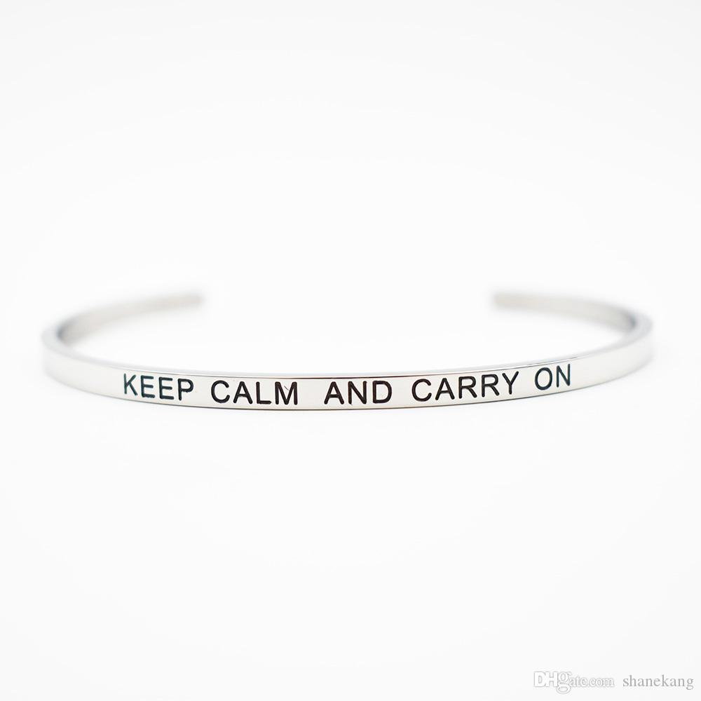 """""""KEEP CALM AND CARRY ON"""" Stainless Steel Stamped Bracelet Titanium Steel Inspirational Bangle for Women Gift"""