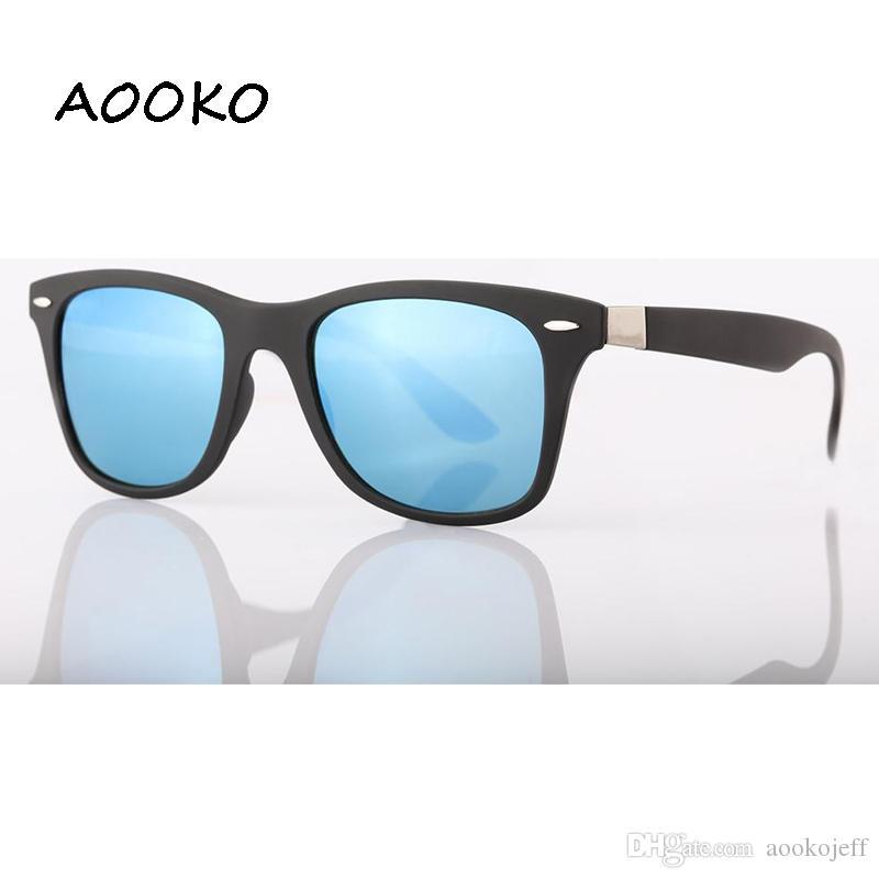 AOOKOjeff 4195 UV Protection Square Sunglasses Men Brand Designer Glasses Hikers Travel Matte color Frame Glass Lens women Sunglass 52mmA