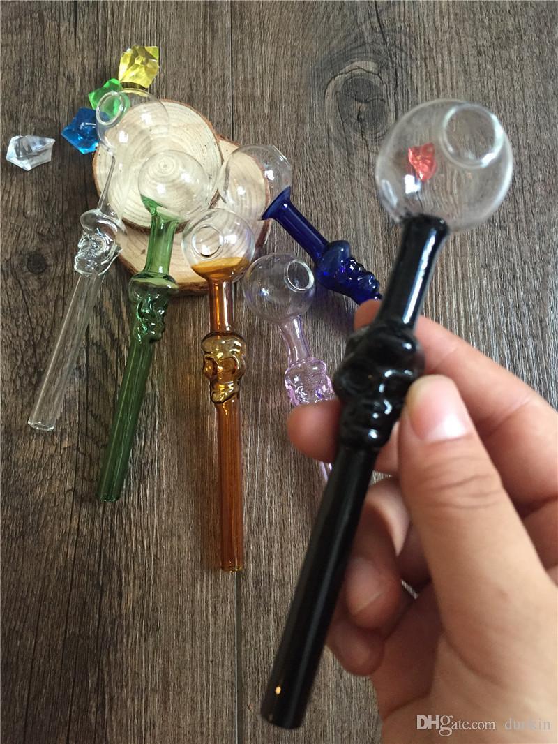 Цветная стеклянная трубка Череп Ручка для курения Трубки Изогнутые Мини 12см Курительные трубки Ручная выдувная утилизация Лучшее качество трубы для горелки