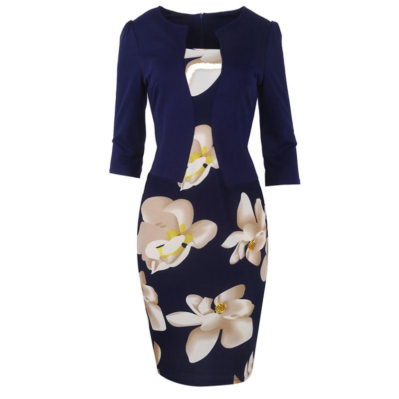 Kobiety Fantaist Spadek Fałszywy Dwa Kawałki Patchwork Floral Print Elegancki Biznes Party Formalne Office Plus Size Bodycon Piórki Suknie robocze