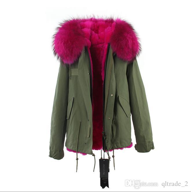 Krótki styl Jazzevar Rose Raccoon Fur Trim Women Snow Coats Rose Rabbit Fur Lining Army Green Canvas Mini Parkas