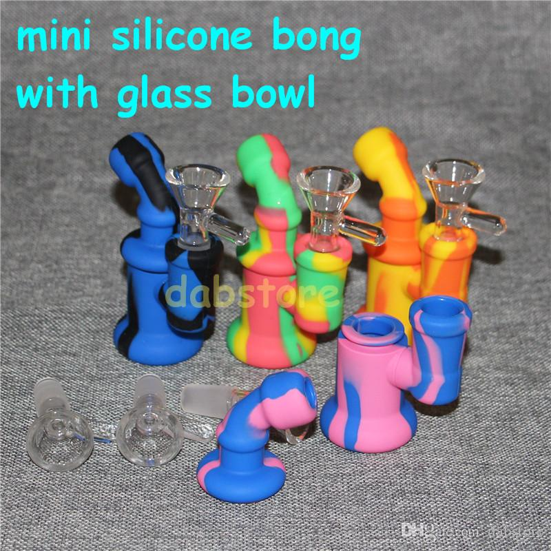 New Design 10 colors Silicone Water Pipe Recycler Bubbler bong unbreakabale silicone bongs with glass bowl