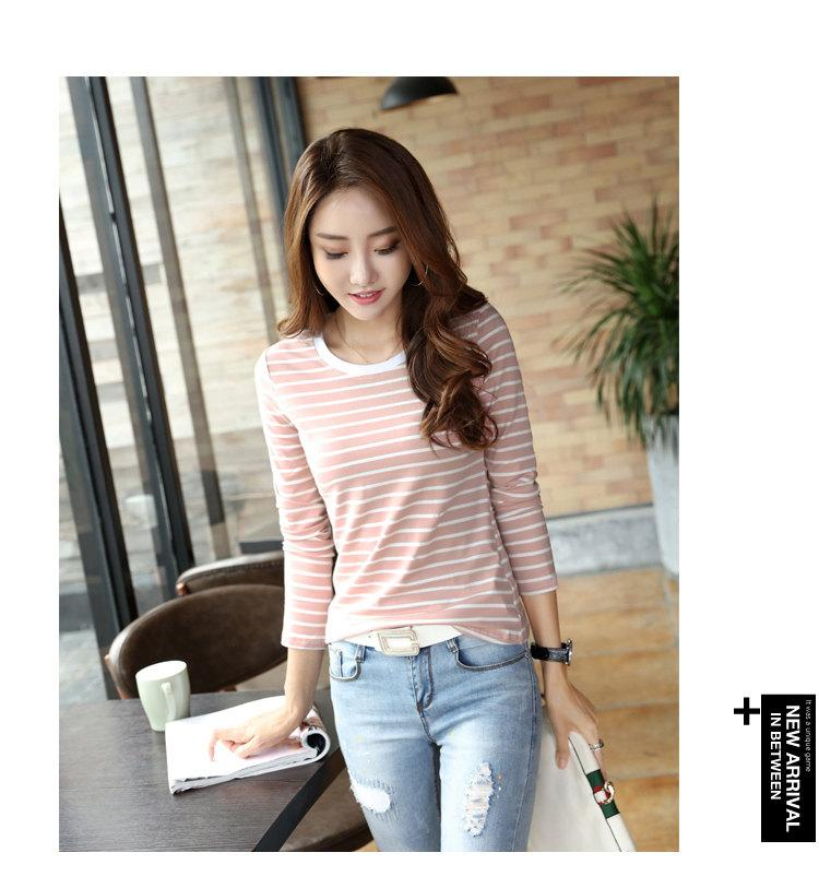 Autumn Winter Striped T-shirt Women Casual Plus Size Tops Tees Femme Long Sleeve Women Cotton Tshirt Camisetas Mujer 2019 (3)