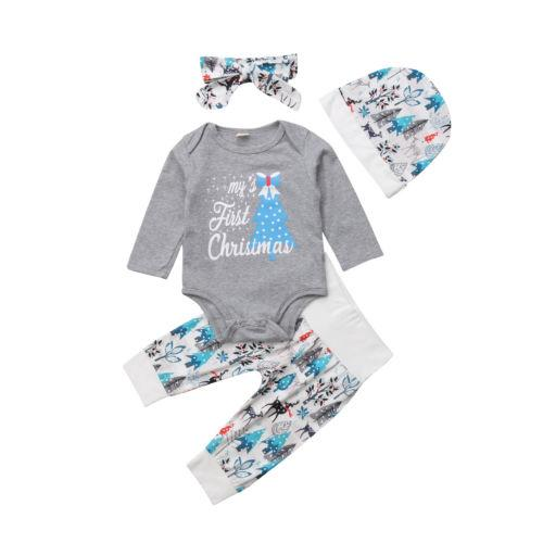 2019 Casual Christmas Toddler Baby Boy Girls Long Sleeve Cotton Romper+  Pants+Hat Leggings Outfits Headband Cap Clothes Set Autumn From Buycenter,