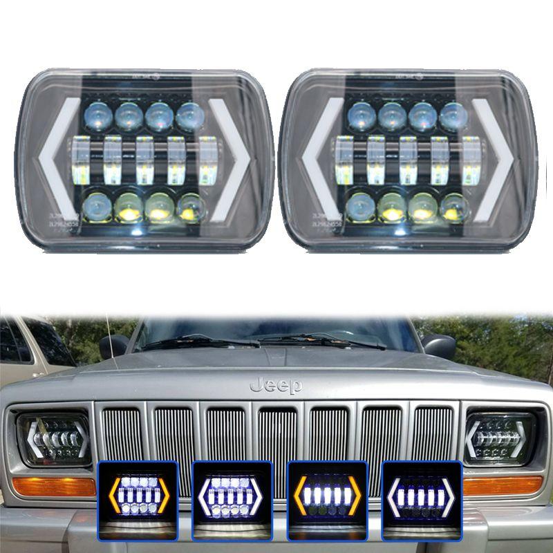 "55W 7X6/"" 5X7/"" LED Headlight Halo DRL Hi//Lo Beam Bulbs for Jeep Cherokee XJ Truck"