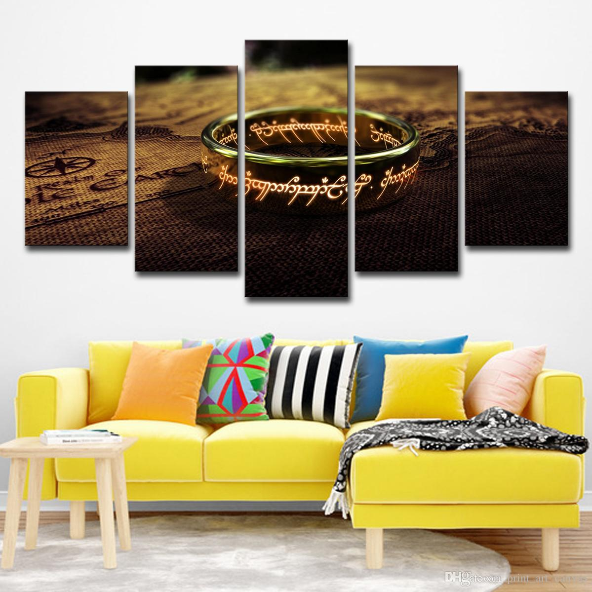 Canvas Wall Art Posters HD Prints Painting For Living Room Home Decor 5 Panel World Map Lord Of The Rings Pictures