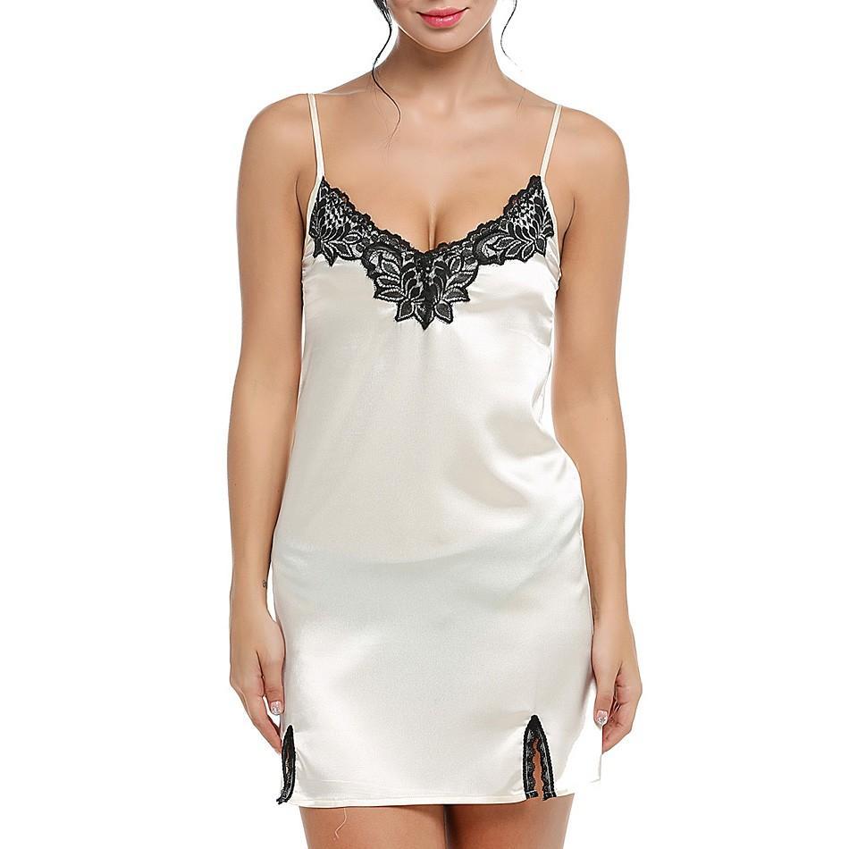 nightwear woman sleep nightgowns prices Spaghetti strap woman sleepwear Lace Splicing Summer Sleepwear Ladies Night Dress